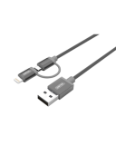 Kabel do iPhone/iPad Lighning/MicroUSB MFI Unitek Mobile - szary
